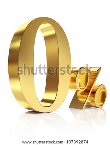 Gold zero percent discount symbol - stock photo