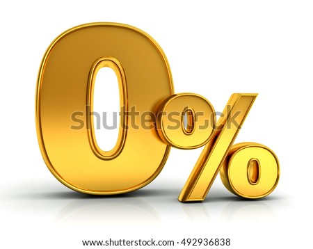 Gold zero percent or 0 % isolated over white background with reflection. 3D rendering.