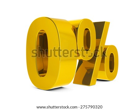 Gold zero percent sign isolated on white background, three-dimensional rendering - stock photo