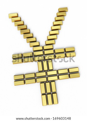 Goldbars on japan yen sign (isolated on white and clipping path) - stock photo
