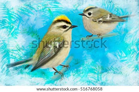 Goldcrests in winter. Digital painting.