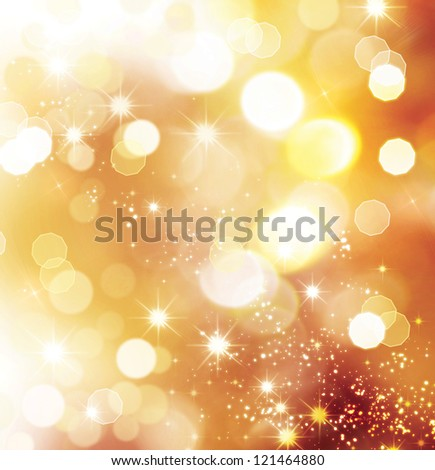 Golden Abstract Bokeh Background. Gold Magic Dust. Christmas Holiday Background - stock photo
