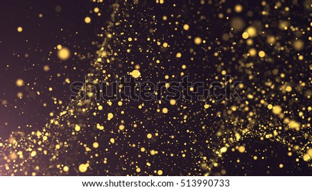 Golden abstract bokeh lighting. Gold background.