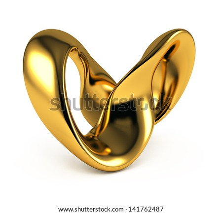 golden abstract object on white background