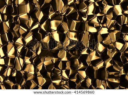 Golden Abstract Voronoi Background 3D Rendering