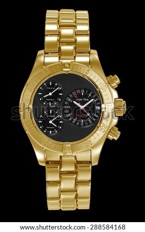 golden aerial wristwatch on black background - stock photo