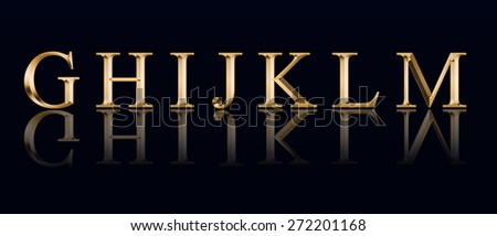"""Golden alphabet from """" G"""" to """"M"""" on a black background - stock photo"""