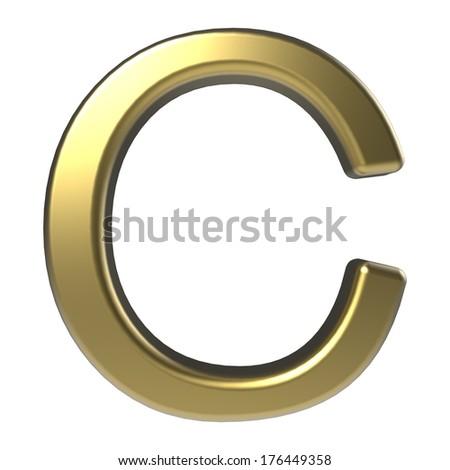 golden alphabet, letter C isolated on white background - stock photo