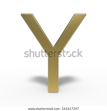 golden alphabet, letter Y isolated on white background