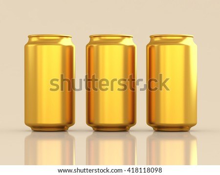 Golden aluminum can. Packaging, drink, alcohol, gold, product showcase.