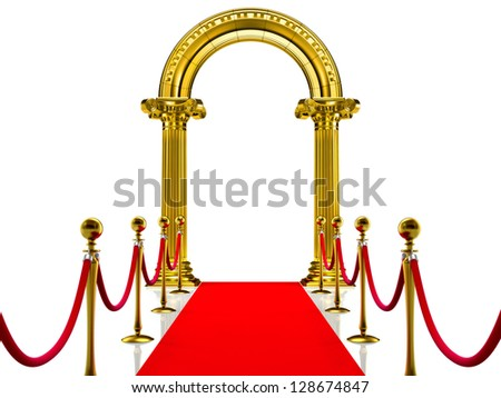 Golden ancient gate with Red Carpet