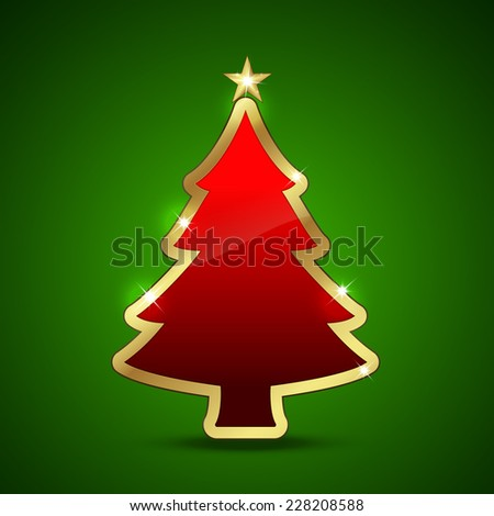 Golden and glossy Christmas tree. - stock photo