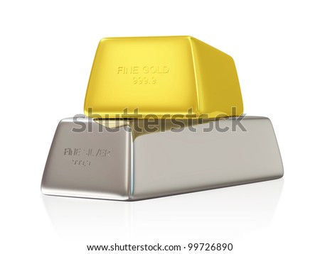 Golden and Silver Bars on white background - stock photo
