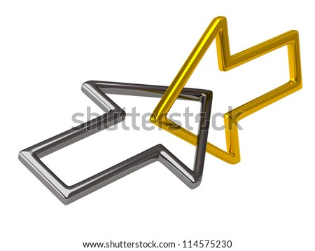 Golden and silver connected arrows - stock photo