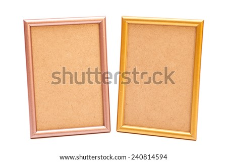 Golden and silver frame on white background  - stock photo