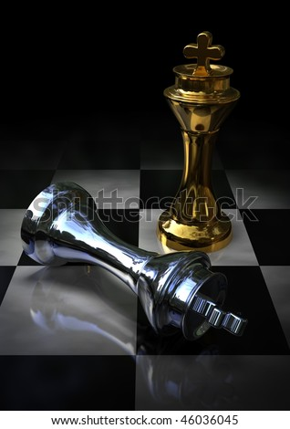 golden and silver kings on a chess board - stock photo