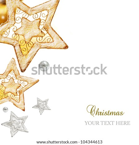 Golden and silver stars, ornaments and holiday decorations isolated on white background