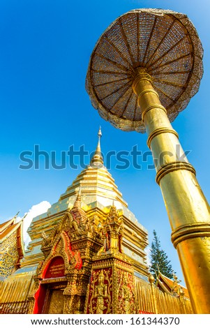 golden angel   wat Phra That Doi Suthep, chiangmai ,Thailand, statue in religion Thailand  ,  are public  domain  ,no restrict in copy or use . This photo  taken   these  conditions