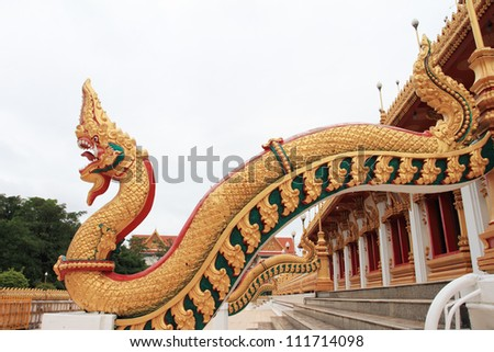 Golden angle naga in thai temple
