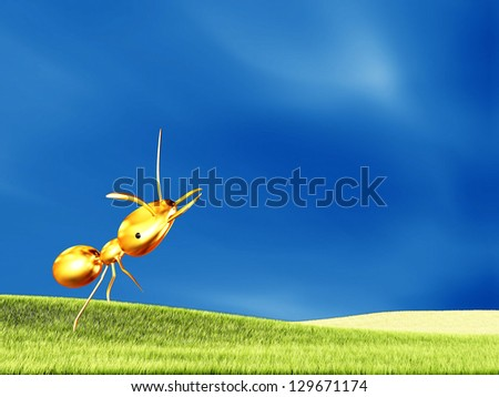 golden ant for adv or others purpose use - stock photo