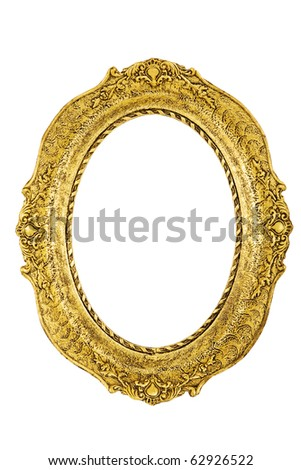 Golden antique frame - stock photo