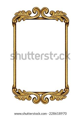 Golden antique frame isolated on white - stock photo