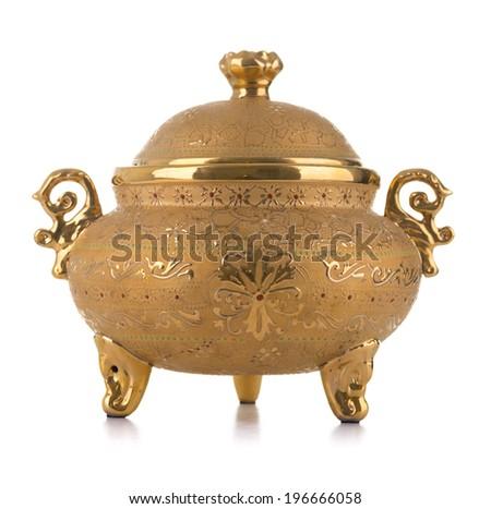 Golden Antique Porcelain Pot Isolated on White Background - stock photo
