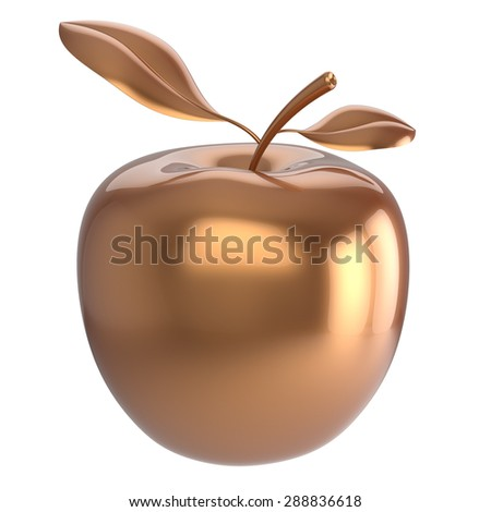 Golden apple fruit gold yellow nutrition antioxidant fresh ripe exotic agriculture education icon. 3d render isolated on white background - stock photo