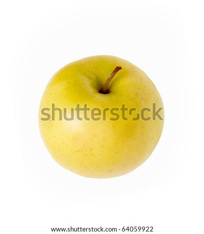 Golden apple isolated on white background - stock photo