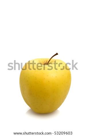 Golden apple over white background. - stock photo