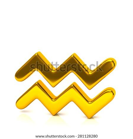 Golden aquarius zodiac sign isolated on white background - stock photo