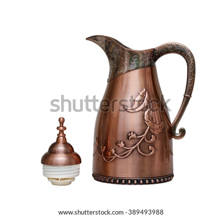 Golden arabic coffee pot isolated on white, thermos  - stock photo