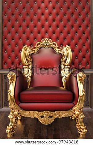 golden armchair in the luxurious interior. - stock photo