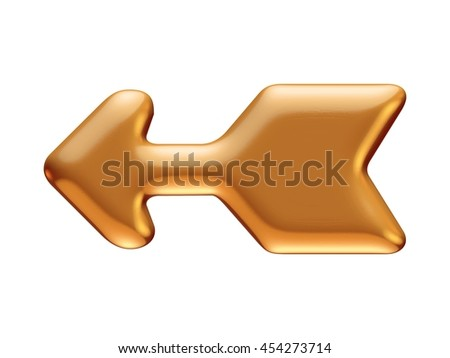 Golden arrow rendered in 3d on isolated white background.