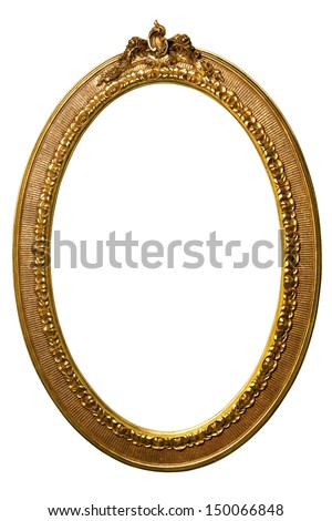 Golden art Picture Frame on white background - stock photo