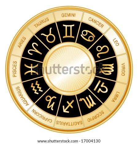 Golden Astrology Wheel.  12 horoscope signs of the zodiac with titles on a black background: Aquarius, Aries, Cancer, Capricorn, Gemini, Leo, Libra, Pisces, Sagittarius, Scorpio, Taurus, Virgo. - stock photo