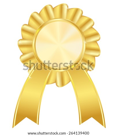 Golden award badge  isolated on white background. Raster version - stock photo