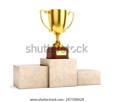 Golden award goblet trophy cup on marble pedestal isolated on white background.