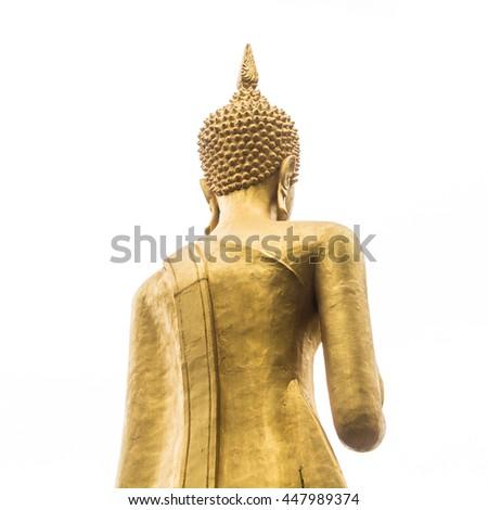 golden back buddha statue isolated on white - stock photo
