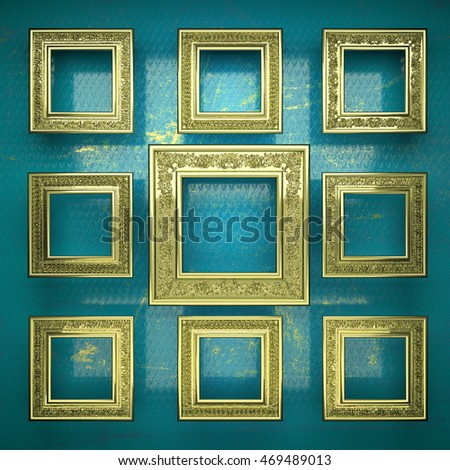 golden background painted in blue. 3D illustration