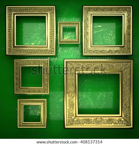 golden background painted in green. 3D illustration
