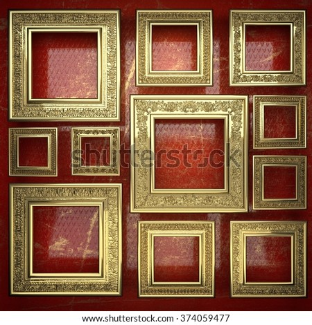 golden background painted in red