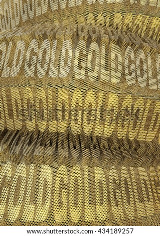Golden background with many gold words. 3d illustration