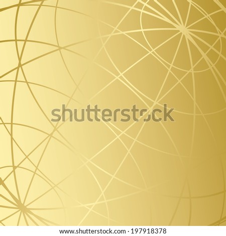 golden background with meridians - stock photo