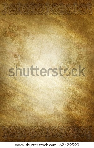 golden background with ornate frame - stock photo