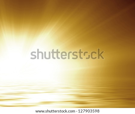 Golden background with some reflections and line effects - stock photo