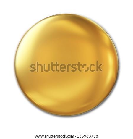 Golden Badge Isolated Over White Background - stock photo