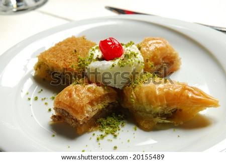 Golden Baklava kind sour cream - stock photo