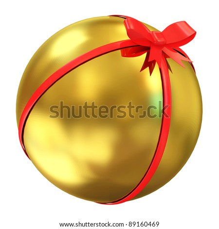 Golden Ball with Red Bow isolated on white background