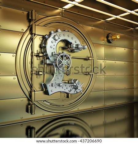 Golden Bank Vault Door. Business concept. currency British pound symbol and banking safe. High resolution 3D